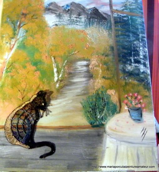 Le chat est entré dans le tableau
